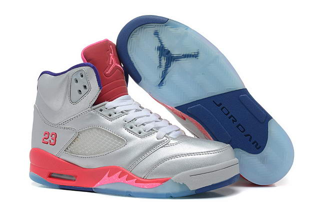 WMS Jordan 5 Shoes Silver/Pink/Blue